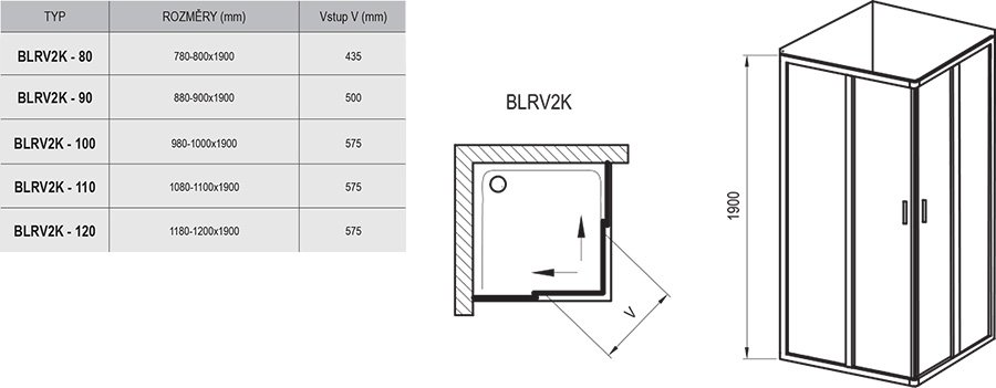 Dušo kabina Blix BLRV2K+BLRV2K