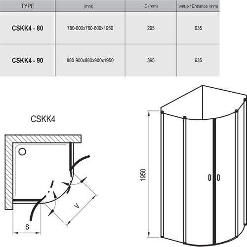Dušo kabina Chrome CSKK4