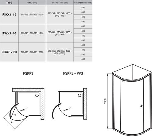 Dušo kabina Pivot PSKK3