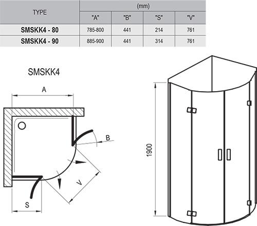 Dušo kabina SmartLine SMSKK4