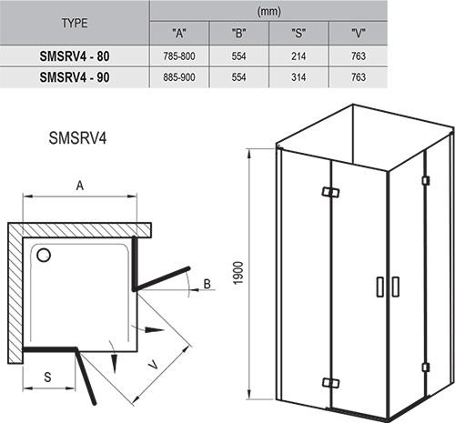 Dušo kabina SmartLine SMSRV4