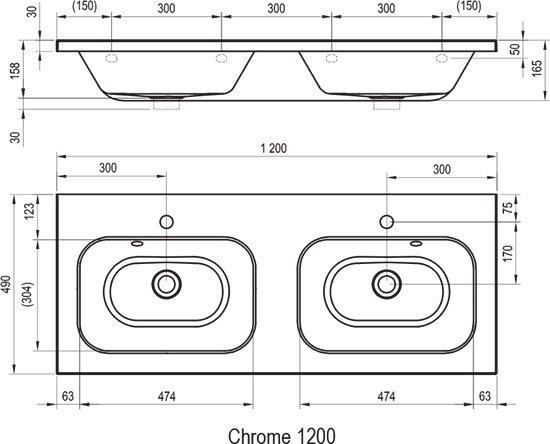 Dvigubas praustuvas Chrome 1200